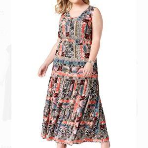 NY Collection Printed Boho Maxi Dress Size 1X
